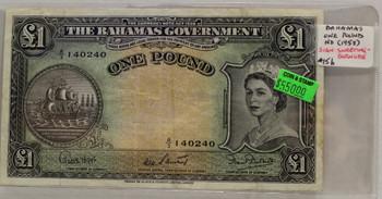 BAHAMAS 1 POUND BANKNOTE - NO DATE 1953