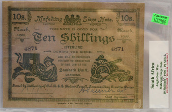 SOUTH AFRICA ANGLO-BOER WAR 10 SHILLING MAFEKING SIEGE NOTE - MARCH 1900