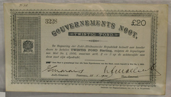 SOUTH AFRICA ANGLO-BOER WAR 20 POUND BANKNOTE - DATED MAY 28 1900
