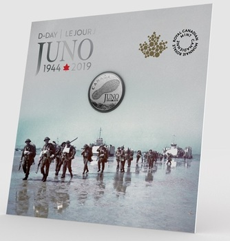 2019 $3 FINE SILVER COIN 75TH ANNIVERSARY OF THE NORMANDY CAMPAIGN D-DAY AT JUNO BEACH