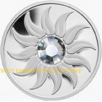 SALE - 2011 $3 FINE SILVER COIN - BIRTHSTONE COLLECTION - APRIL - DIAMOND