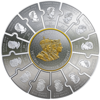 SPECIAL - 2018 FINE SILVER PUZZLE COIN SET CONNECTING CANADIAN HISTORY (1866-1916)