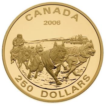 2006 $250 14KT GOLD COIN - DOG SLED TEAM
