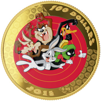 SALE - 2015 $100 14-KARAT GOLD COIN AND POCKET WATCH - LOONEY TUNES™ - BUGS BUNNY AND FRIENDS