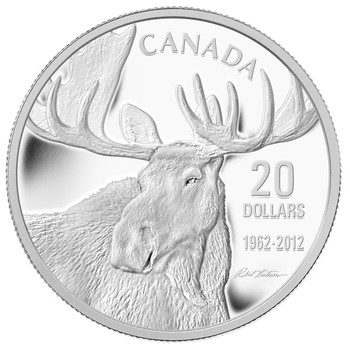 SALE - 2012 $20 SILVER COIN - BULL MOOSE FROM THE MOOSE FAMILY - ROBERT BATEMAN