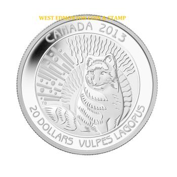 SALE - 2013 $20 FINE SILVER COIN ARCTIC FOX - UNTAMED WILDERNESS - QUANTITY SOLD: 7538