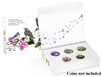 Subscription Box -NO COINS- 2017 $10 Fine Silver Birds Among Nature's Colours Musical Display Case
