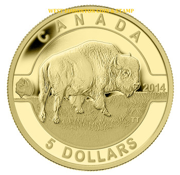 2014 $5 PURE GOLD COIN - O CANADA SERIES - BISON (1/10oz. GOLD)