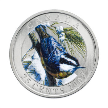 SALE - 2007 25 CENT COIN - RED-BREASTED NUTHATCH