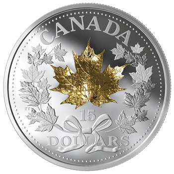 2019 $15 FINE SILVER COIN GOLDEN MAPLE LEAF