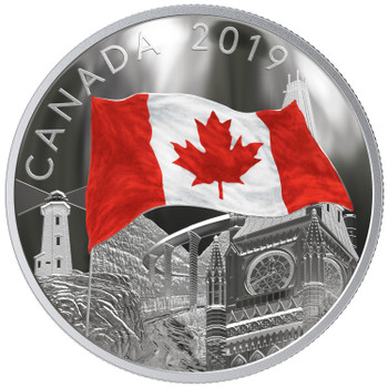 2019 $30 FINE SILVER COIN THE FABRIC OF CANADA (FLAG COIN)