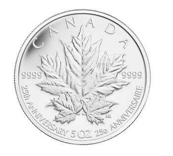 SALE - 2013 5 OZ FINE SILVER COIN - 25TH ANNIVERSARY OF THE SILVER MAPLE LEAF COIN - MINTAGE: 2500