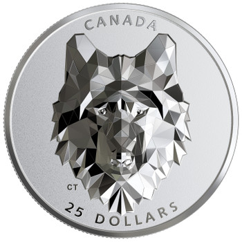2019 $25 FINE SILVER COIN MULTIFACETED ANIMAL HEAD: WOLF