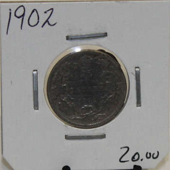 1902 CIRCULATION 25-CENT COIN - UNGRADED - AS PICTURED