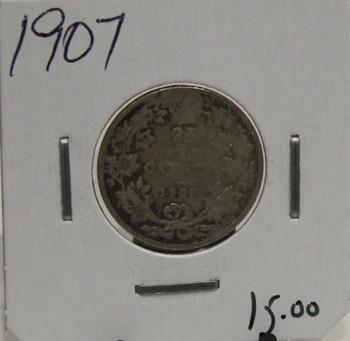 1907 CIRCULATION 25-CENT COIN - UNGRADED - AS PICTURED