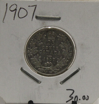 1907 CIRCULATION 25- CENT COIN - UNGRADED - AS PICTURED