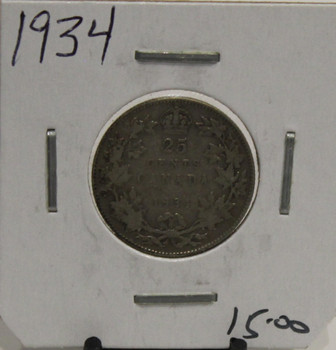 1934 CIRCULATION 25-CENT COIN - UNGRADED - AS PICTURED