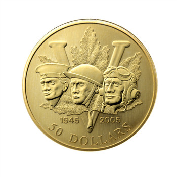 2005 $50 14KT GOLD COIN 60TH ANNIVERSARY OF THE END OF THE SECOND WORLD WAR