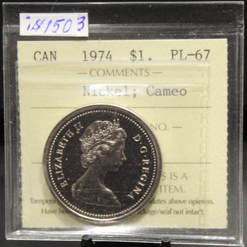 1974 CIRCULATION $1 COIN - NICKEL - CAMEO - PL-67