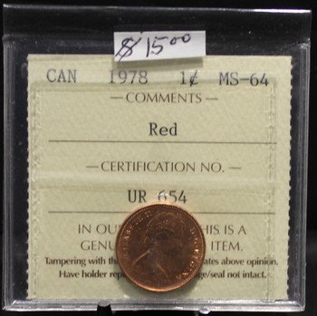 1978 CIRCULATION 1-CENT COIN - RED - MS-64