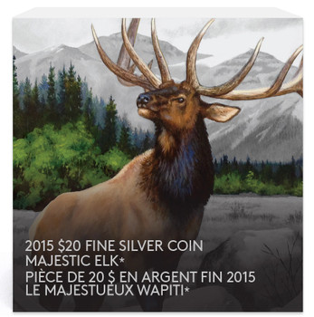 SALE - 2015 $20 FINE SILVER COIN - MAJESTIC ANIMALS - ELK