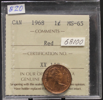 1968 CIRCULATION 1-CENT COIN - RED - MS-65