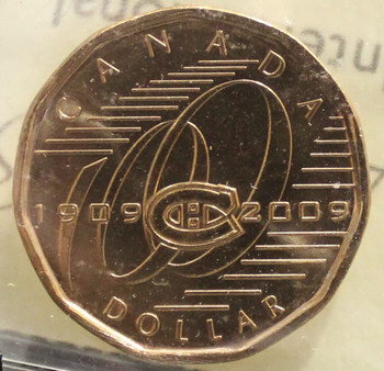 2009 CIRCULATION $1 COIN - CANADIENS 100 YEARS - MS-65