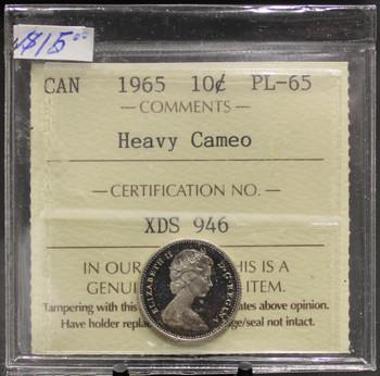 1965 CIRCULATION 10-CENT COIN - HEAVY CAMEO - PL-65