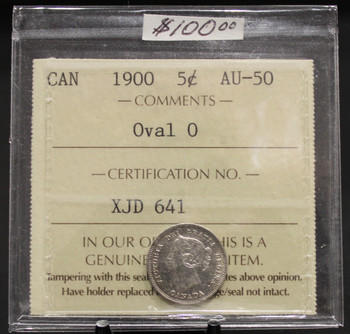 1900 CIRCULATION 5-CENT COIN - OVAL O - AU-50