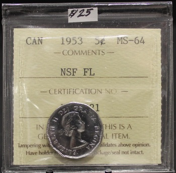 1953 CIRCULATION 5-CENT COIN - MS-64