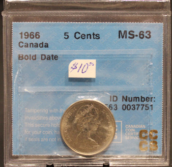 1966 CIRCULATION 5-CENT COIN - BOLD DATE - MS-63