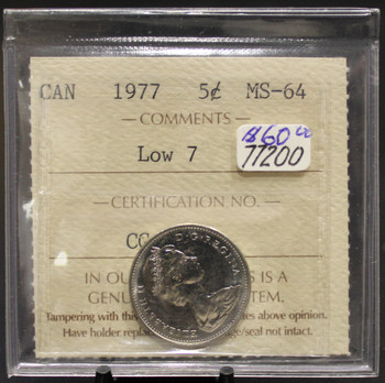 1977 CIRCULATION 5-CENT COIN - LOW 7 - MS-64