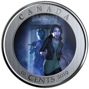 2019 50-CENT LENTICULAR COIN SPOOKY CANADA: HI OTTAWA JAIL HOSTEL