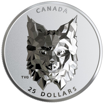 2020 $25 FINE SILVER COIN MULTIFACETED ANIMAL HEAD: LYNX