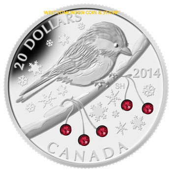 SALE - 2014 $20 FINE SILVER COIN - CHICKADEE WITH WINTER BERRIES