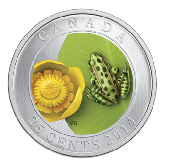 SALE - 2014 25-CENT COLOURED COIN WATER-LILY AND LEOPARD FROG
