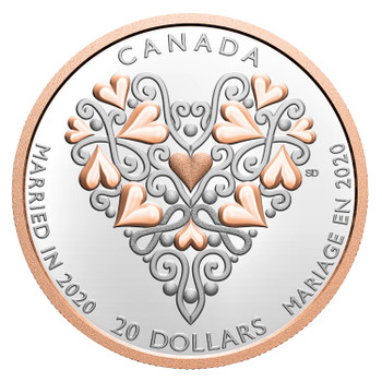 2020 $20 FINE SILVER COIN BEST WISHES ON YOUR WEDDING DAY!