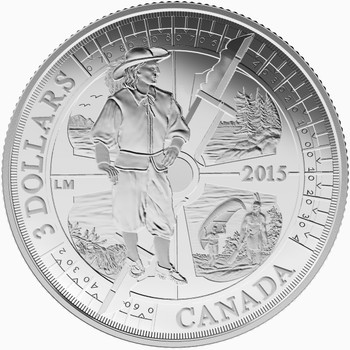 2015 $3 FINE SILVER COIN  400TH ANNIVERSARY OF SAMUEL DE CHAMPLAIN IN HURONIA