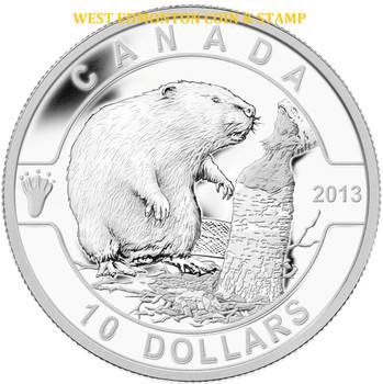 2013 $10 FINE SILVER COIN O CANADA SERIES - THE BEAVER