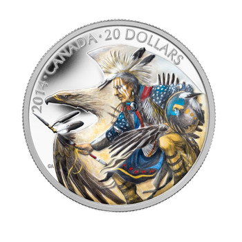2014 $20 FINE SILVER COLOURED COIN LEGEND OF NANABOOZHOO