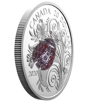 2020 $20 FINE SILVER COIN BEJEWELED BUGS: LADYBUG