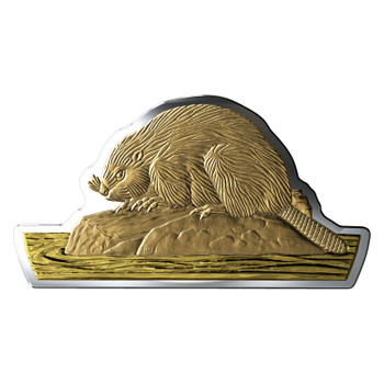 2020 $50 FINE SILVER COIN REAL SHAPES: THE BEAVER