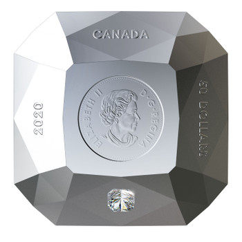2020 $50 FINE SILVER DIAMOND SHAPED COIN FOREVERMARK© DIAMOND