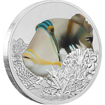 Reef Fish - Triggerfish 1oz Silver Coin