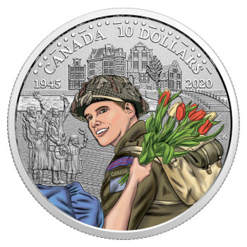 2020 $10 FINE SILVER COIN 75TH ANNIVERSARY OF THE LIBERATION OF THE NETHERLANDS: CANADIAN ARMY