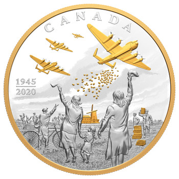 2020 $100 FINE SILVER COIN LIBERATION OF THE NETHERLANDS: OPERATION MANNA