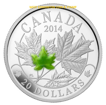 SALE - 2014 $20 FINE SILVER COIN MAJESTIC MAPLE LEAVES WITH JADE