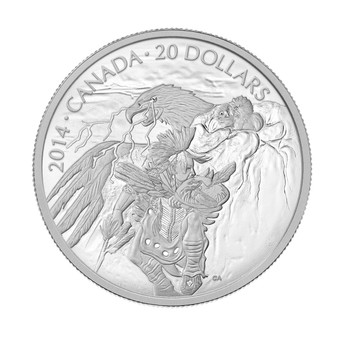 SALE - 2014 $20 FINE SILVER COIN NANABOOZHOO AND THE THUNDERBIRDS' NEST