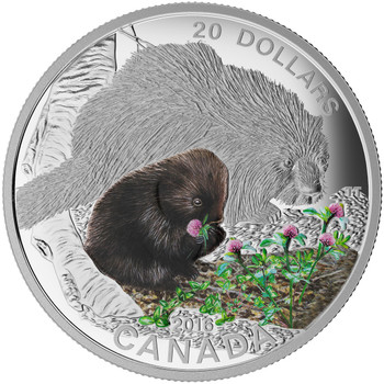 SALE - 2015 $20 FINE SILVER COIN BABY ANIMALS: PORCUPINE