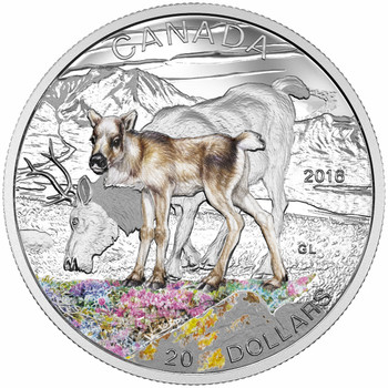 SALE - 2016 $20 FINE SILVER COIN - BABY ANIMALS: CARIBOU